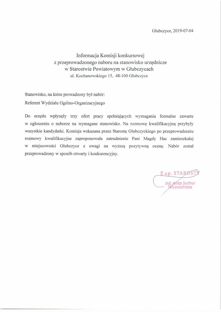 Informacja Komisji Konkursowejz przeprowadzonego naboru na wolne stanowisko urzędnicze - Referent Wydzialu Ogólnoorganizacyjnego.jpeg